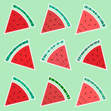Slices of watermelon. Seamless background. Slices of watermelon. Seamless background on green background Stock Photo
