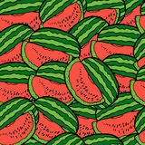 Slices of watermelon. Seamless background. Slices of red watermelon. Seamless background. Cute seamless  pattern with red watermelons Stock Images