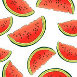 Slices of watermelon seamless pattern, berry background. Painted fruit, graphic art, cartoon. For the design  the fabric. Slices of watermelon seamless pattern Royalty Free Stock Photo