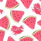 Slices of watermelon seamless pattern with juice drop Stock Images