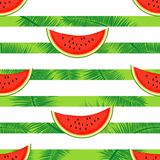 Slices of watermelon on a striped background.Seamless illustration. Stock Image
