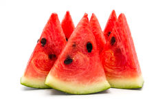 Slices of watermelon on a white background royalty free stock images