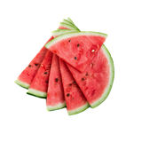 Slices of watermelon on white background. Slices of fresh watermelon on white background royalty free stock image