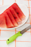 Slices of watermelon in the white bowl Royalty Free Stock Images