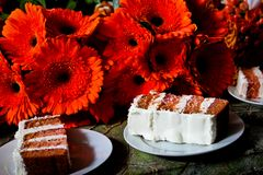Slices of Wedding Cake stock photography