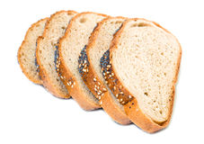 Slices of wheat bread Stock Images