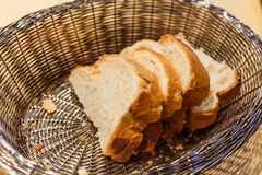 Slices of white bread in basket Royalty Free Stock Photos