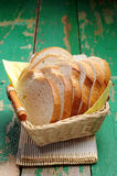 Slices white bread in a basket on table Royalty Free Stock Photos