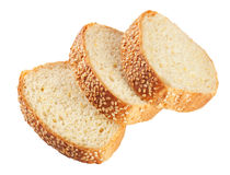 Slices of white bread with seeds Royalty Free Stock Photos