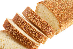 Slices of white bread with sesame seeds Royalty Free Stock Photo