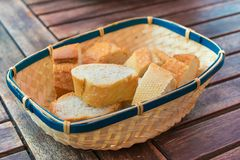 Slices of white bread in a wicker basket. Royalty Free Stock Photo