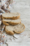 Slices of whole grain bread with walnuts Stock Image