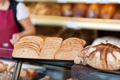 Slices of whole meal bread at bakery Stock Photos