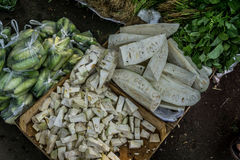 Slices of young jackfruit and cucumber on sale in traditional market photo taken in Bogor Indonesia Stock Image