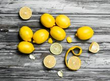 Slices and zest of fresh lemon stock images