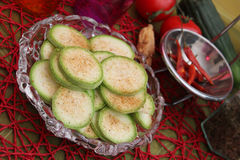 Slices of zucchini. Some fresh slices of zucchini Royalty Free Stock Image