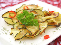Slices of zucchini with chili Stock Images