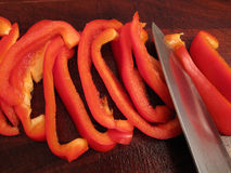 Slicing a Bell Pepper Royalty Free Stock Photo
