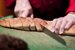 Slicing Bread Royalty Free Stock Photo