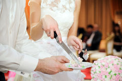 Slicing the cake Stock Images