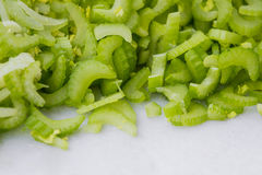 Slicing celery Stock Photo