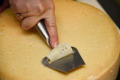 Slicing cheese Stock Photography