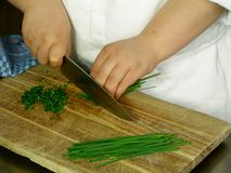 Slicing chives Royalty Free Stock Photo