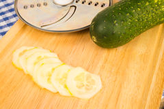 Slicing cucumber Royalty Free Stock Photos