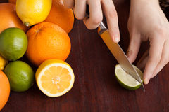 Slicing fresh fruit Royalty Free Stock Photography