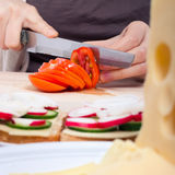 Slicing fresh tomato Royalty Free Stock Photography