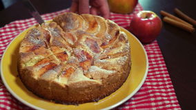 Slicing freshly baked apple pie with sharp kitchen knife stock video