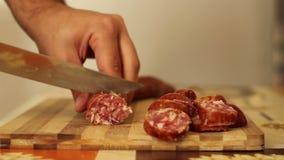 Slicing Homemade Sausage stock footage