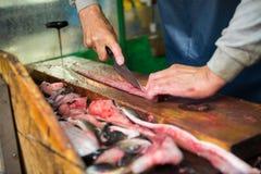 Slicing japanese eel fish for sell at Tsukiji seafood market Royalty Free Stock Photography