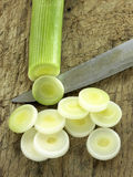 Slicing a leek Stock Photography
