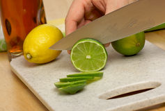 Slicing a Lime Stock Photos
