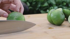 Slicing limes stock video