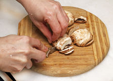 Slicing mushrooms Royalty Free Stock Photos