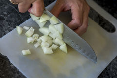 Slicing onion Stock Photos