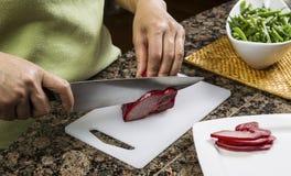 Slicing Pork Meat Stock Photos