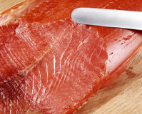 Slicing a salmon Stock Photography