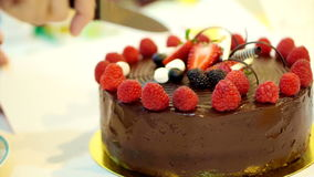 Slicing sticky chocolate cake fresh strawberries and berries stock footage