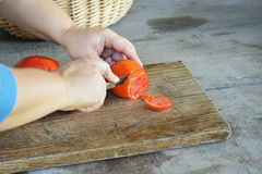Slicing A Tomato Stock Photography