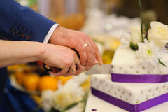 Slicing the wedding cake Stock Images