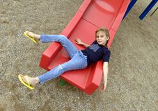 On the slide Royalty Free Stock Photo