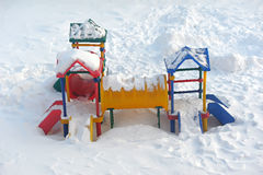 Slide ander the snow Stock Photo