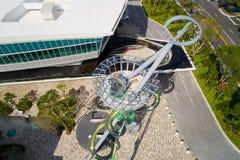 Slide at Aventura Mall Miami new modern architecture. AVENTURA, FL, USA - DECEMBER 15, 2017: Aerial image of the mega slide at Aventura Mall near completion Stock Photo