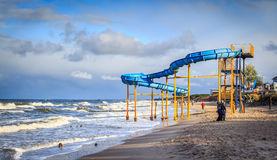 Slide on the beach. In Mielno, Poland Royalty Free Stock Image