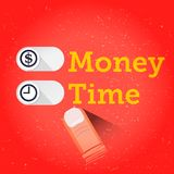 Slide button for Times or Money. interface. life balance concept. Illustration Stock Images
