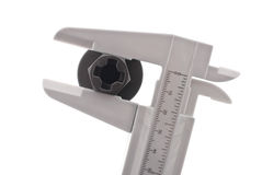 Slide Caliper. Measuring Bolt Size Royalty Free Stock Photo