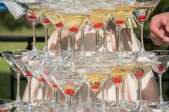 A slide of champagne. Pyramid of champagne glasses with red cher Stock Photos